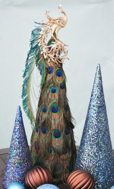 Peacock Christmas Trees-Set of 3. $48.00, via Etsy.