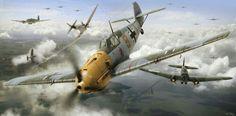 Messerschmitt Bf109E Airfix box artwork by Adam Tooby