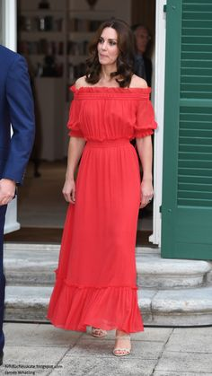 hrhduchesskate: Tour of Germany, Day 1, July 19, 2017-The Duchess of Cambridge wore an Alexander McQueen cotton-silk maxi dress, accessorized with Prada nude sandals and a new pair of earrings by Irish designer Simone Rocha