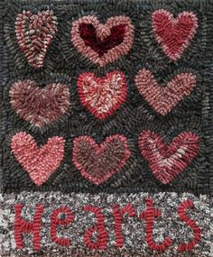 Locker Hooking Rug Punch Needle Hy Heart Primitive Crocheting Hearts Tejidos Embroidery