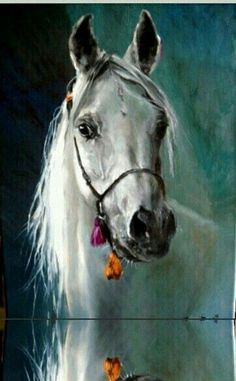 White horse painting with teal blue green background. Stunning White horse painting with teal blue green background. Horse Drawings, Animal Drawings, Horse Pictures, Pictures To Paint, White Horse Painting, Arte Equina, Canvas Art Projects, Horse Artwork, White Horses