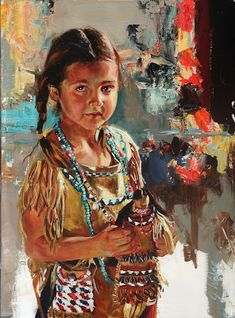 Jeremy Winborg Art: Original Oil Paintings: WESTERN ARTWORK. with a doll