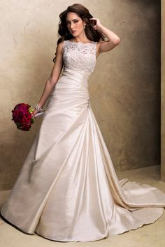 Formal Modest Silver $$ - $701 to $1500 A-line Ballroom Bateau Beading Country Club Floor Illusion Maggie Sottero Ruching Satin Sleeveless Wedding Dresses Photos & Pictures - WeddingWire.com