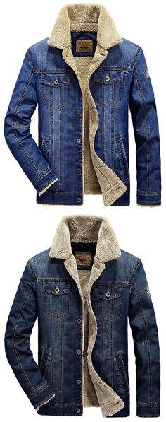 US$62.24 Plus Size Fashion Denim Jacket Multi Pockets Lapel Collar Fleece Jacket for Men#jeans #style #jacket