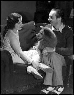 Walt Disney and wife with their first family dog, a chow chow. Walt placed the puppy in a hat box as a gift for his wife which inspired the scene in Lady and the Tramp where Lady is taken out of a hat box as a Christmas present.