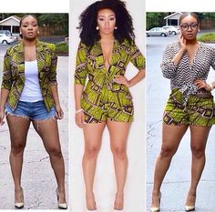 African jacket,jumper and shorts! Green and purple African print; African Inspired Fashion, African Print Fashion, Africa Fashion, Fashion Prints, Ankara Fashion, African Attire, African Wear, African Women, African Style