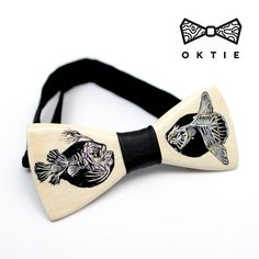 "OKTIE - wooden accessories: OKTIE Wood Bow Tie ART Series ""DeepFish"""