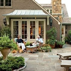 Portico above doors, back of the house ideas