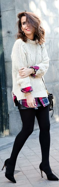 fall / winter - street & chic style - cream cable knit oversized sweater + red plaid oversized shirt + black wide mini skirt + black thights + black heels