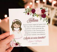 Convite Daminha - Arte Digital no Elo7 | Fê Franco Artes Gráficas (F27A78) Fiesta Cake, Dream Wedding, Wedding Day, If You Love Someone, Marry You, First Communion, Special Day, True Love, Big Day