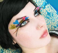 4a7044f7298 Love Eyes Mod Psychedelic Feather Eyelashes w/ by MoonshineBaby, $45.00  Coloured Feathers, Black