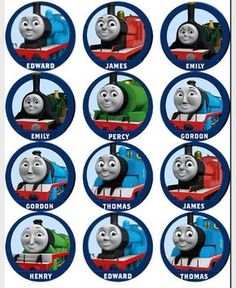 It is an image of Unusual Free Printable Thomas the Train Cup Cake Toppers