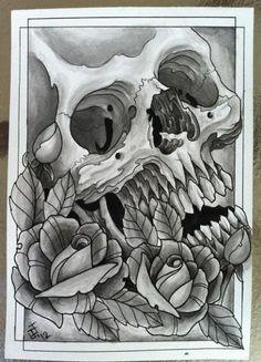 Tattoo Art | Skull tattoo flash art, skull, roses, tattoos, tattoo designs, tattoo ...