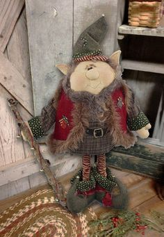 Elf Doll Pattern: Jangles 22 Christmas Elf by SparklesNSpirit Christmas Sewing, Primitive Christmas, Christmas Projects, Holiday Crafts, Christmas Elf, Christmas Swags, Christmas Room, Christmas Ideas, Christmas Ornament