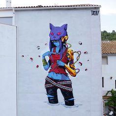 "StreetArtNews on Instagram: ""Something new from Deih in Fanzara, Spain for Miau Festival #streetart #streetartnews @deih.xlf""  #streetart #arte #art #arteurbano #turismo #turismocomunidadvalenciana #spain #españa #castellon #fanzara"