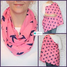 NEW Pink with Navy Birds Hold Me Close Nursing Scarf, Nursing Cover, Infinity Nursing Scarf $20
