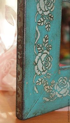 . Decoupage Furniture, Painted Furniture, Fabric Painting, Painting On Wood, Arte Pallet, Decoupage Vintage, Clay Art, Picture Frames, Stencils