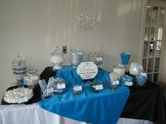 My DIY Candy Buffet  :) :  wedding black blue candy buffet diy reception white IMG 0479 like what they did with fabric