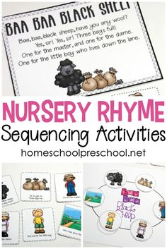 Don't miss these free printable nursery rhyme sequencing cards is perfect for preschool and kindergarten kids. Set includes posters, sequencing cards, and more! #sequencingcards #nurseryrhymesequencing #storysequencing via @homeschlprek Nursery Rhymes Kindergarten, Rhyming Kindergarten, Free Nursery Rhymes, Nursery Rhyme Crafts, Nursery Rhyme Theme, Classic Nursery Rhymes, Sequencing Activities, Nursery Rhyme Activities, Homeschool Kindergarten