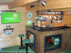 Create the Perfect Bar in Your Own Home Today - Man Cave Home Bar Man Cave Pub, Man Cave Shed, Man Cave Room, Man Cave Home Bar, Home Bar Rooms, Diy Home Bar, Home Pub, Bars For Home, Garage Game Rooms