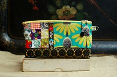 Handmade Zipper Pouch or Clutch, New and Vintage Fabrics, Vintage Trims, Satin Lining, Beaded Zipper Pull