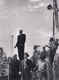 A Song of Peace (Paul Robeson in Pickskills, NY) by Valentin Polyakov, Igor Radoman, and Khaim-Shats, painting, 1950