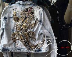 Верхняя одежда ручной работы. Ярмарка Мастеров - ручная работа. Купить Джинсовая куртка Lizard. Handmade. Голубой