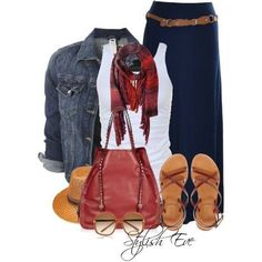 skirt white tank and denim jacket with scarf