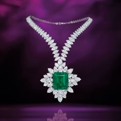 Magnificent Colombian (Muzo) Emerald and Diamond Pendent Necklace, Harry Winston