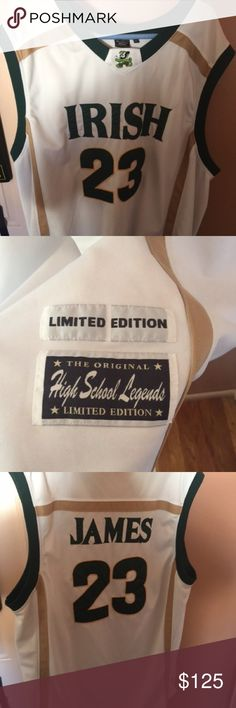 75f509fbbf95 Description  Used LeBron James St. Mary Irish High School Legends  Basketball Jersey size Sold by Fast ...