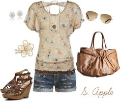 """Cute Cream Flower Top"" by sapple324 on Polyvore"