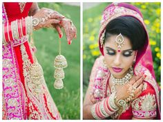 toronto south asian wedding hindu punjabi sikh bride with pink red orange bridal lehenga and custom rose gold and kundan jewellery