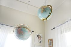 A closeup of the hanging globes