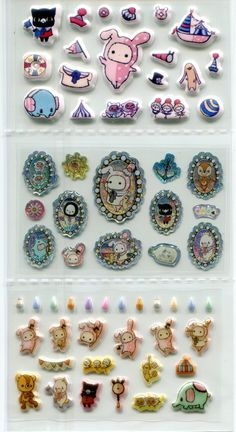 Image 1 of San-X Sentimental Circus Shiny Sponge 2 Design Sticker Sheet Set #1 (I1465)