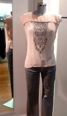 DAY Birger et Mikkelsen embroidered top – £160, Marc Cain silver grey jeans – £159. Available at Sister