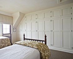 Upstairs bedrooms for kids with traditional built in wardrobes - like the style and hardware