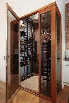 glass door to wine cellar Caves, Chez Georges, Wine Cellar Basement, Home Wine Cellars, Wine Cellar Design, Wine Wall, Wine Fridge, Home Upgrades, Wine And Beer