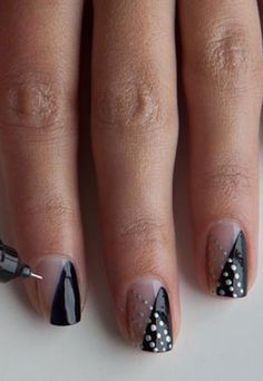 Monochrome nail art.