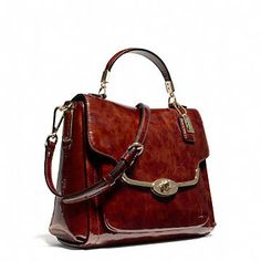 Coach :: MADISON SMALL SADIE FLAP SATCHEL IN PATENT LEATHER