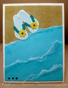 Flip Flops on the Shore Card ... torn edged waves ... die cut flip flops ... great design for summer fun ...