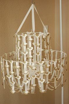 Ribbon Chandelier..instructions on how to make. They also have a great pic of one with green ribbons and white flowers.
