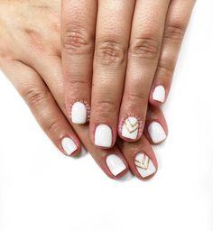 White nails with gold chevron nails. #PreciousPhan