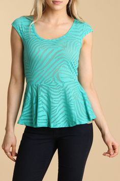 RD Style Poison Burnout Peplum Top in Sea Green - Beyond the Rack