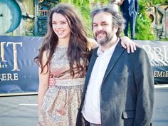 "Sir Peter Jackson and his daughter at the Hobbit world premiere - doesnt she look lovely? Even cuter as a hobbit girl in ""The Fellowship of the Ring"""