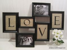 turn thrift store frames and burlap into collage wall art, design d cor, diy home crafts, repurposing upcycling, everything assembled back together with pictures added Collage Kunst, Collage Mural, Canvas Collage, Collage Photo, Photo Collages, Canvas Art, Burlap Projects, Burlap Crafts, Diy Projects
