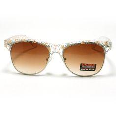 7a410c0b353 Clear Flower Pattern Half Rim Wayfarer Horn Rimmed Clubmaster Sunglasses