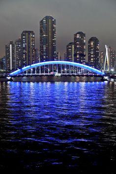 Blue Arch - Eitai-bashi bridge over the Sumida River, Tokyo, Japan