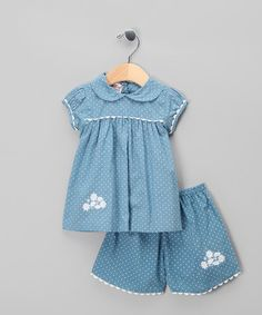 Take a look at this Blue & White Polka Dot Top & Shorts - Infant, Toddler & Girls by Powell Craft on #zulily today!