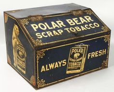Superb early Polar Bear Scrap tobacco tin bin