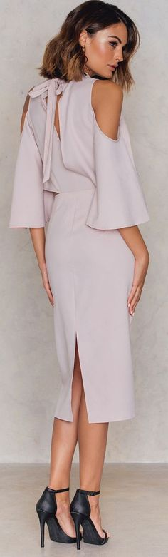 NA-KD Cut Out Tiered Neck Cocktail Dress